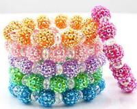 HOTsale!52% Discount !6pcs mix  color 10mm  Resin Shamballa Bracelet  Disco Ball Pave Crystal  Women Bracelet jewelry wholesale