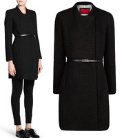 2014 Winter New Brand Simple Atmospheric Solid Long Sleeved Women's Long Coat Free Belt Wool & Blends