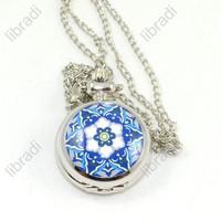 5pcs Flower Case Pendant Necklace Chain Quartz Pocket Watch Gift Sliver