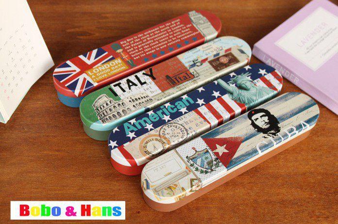 New cute national flag style Tin Pencil case / Pen box / Fashion / Wholesale(China (Mainland))