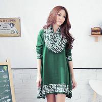 Free Shipping Wholesale Retail Women Plus size European version irregular long Paragraph Sweater Dress +scarf  XL, XXL, XXXL