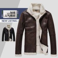 Cotton-padded Newest Fashion Warm Winter Jacket Men Faux Leather Jacket Sheep Lamb Fur Trench Men Coat Zipper Blazer Men Jacket