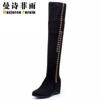 Super-elevation hot-selling winter plus velvet thickening velvet boots over-the-knee 25pt elevator wedges tall boots elastic