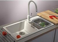 Artificial stone kitchen sink granite basin  white pearl quartz stone kitchen sink high quality
