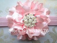 Headband 7cm flower with pearl rhinestone 2014 new baby hair cloth accessory Satin Flower girl headband 25pcs/lot