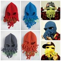 New 2014 Novelty Handmade Knitting Funny Beard Winter Octopus Hats&caps Crochet Beanies Unisex Gift