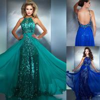 Royal Blue Sequins Long Backless Sexy Flowing Chiffon Aqua Green Evening Dress