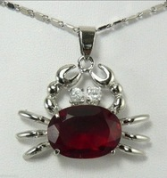 Cute red crab Malay jade jewelry pendant necklace Zircon