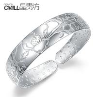 999 fine pure silver jewelry silverwomen's bracelet opening  Free Ship