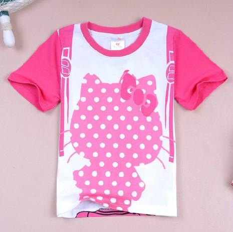 Children clothing retail 2014 spring and summer new cute cartoon hello kitty t-shirt short sleeve tees sweatshirt Free Shipping(China (Mainland))