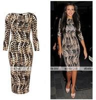 New Fashion 2013 Women Celebrity Casual Dress Sexy Snake Print Bodycon Pencil Slim Fit Free Shipping Plus size F3113
