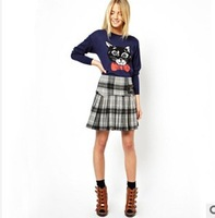 Fashion long-sleeved round collar of new fund of 2013 autumn winters is a black cat bowknot design of women's sweaters
