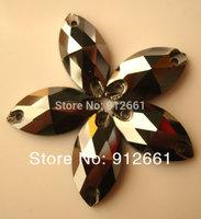 Free shipping(81pcs /lot)  9*18mm W 3223 Navette Sew on rhinestone Jet hematite color