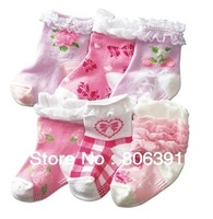 Sweet lace baby girl socks with anti-slip bottom, for Autumn & Winter