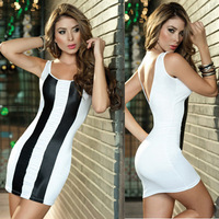 Free Shipping Fashion Brand Open Black Black and white Striped Dress Mini Bodycon Dresses Party ClubwearWomen Clothing A3448