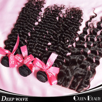 3 part lace closure and 3bundles of brazilian deep wave virgin human hair extensions 4*4inches can Mix any Lengths free shipping