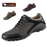 2014 new 100% Genuine Leather shoes for men Sneakers best quality Soft Loafers  Comfortable Driving shoes men mesh flats