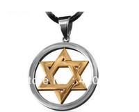 New Mogen David Star Necklace Shield of David Magic Hexagram Necklace Pendant Free With Chain - Titanium Steel Wholesale sale