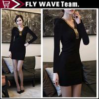Black Gauze Paillette Bsic Slim Hip Sexy Dress Bodycon 2014 Mini clubwear Dresses S-XXXL NZS062