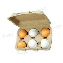 Set of 6Pcs Wooden Eggs Yolk Educational Interesting Kid Toy Free Shipping(China (Mainland))
