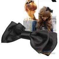 #F9s Black Decoration Satin Bow Hair Barrette Clip