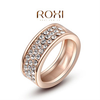 ROXI Christmas Gift Classic Genuine Austrian Crystals Sample Sales Rose Gold Plated Round Ring Jewelry Party OFF