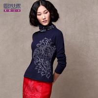 Basic turtleneck shirt beading print long-sleeve t-shirt  women 1743