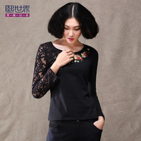 2013 autumn and winter women lace patchwork national trend long-sleeve basic shirt  t-shirt 1749