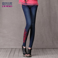 free shipping National embroidery trend all-match skinny pants jeans slim butt-lifting pencil trousers 842
