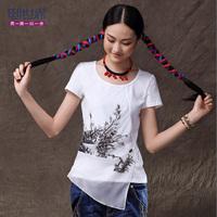 2013 summer ink patchwork shirt plus size  short-sleeve t-shirt 1112