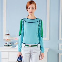 Low o-neck long-sleeve loose sweater female basic colorant match shirt pullover sweater female