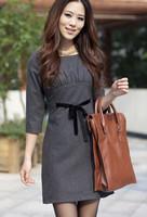 free shipping Slim woolen autumn and winter autumn one-piece dress one-piece dress fashion gentlewomen elegant ol the queen