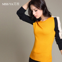 Sweater female long-sleeve o-neck shirt basic pullover sweater color block Women sweater