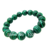 10mm 1pcs Fashion Synthetic Malachite Jewelry Bracelet for WOMEN&MEN High Quatity Round shape Free Shipping HC374