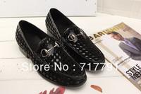 Western Style Brand Men Casual Leather Shoes Classic Designer Plaid Men Oxford Shoes Fashion Dress Shoes