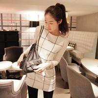 2014 autumn and winter autumn women's elegant ladies twinset long-sleeve plaid square dress design free shipping