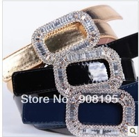 Free Shipping Fashion New Style Set Rhinestone Square Buckle Paint Bright Leather Belt