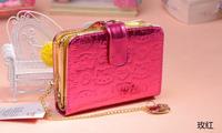 2014 Spring Girl's Hello Kitty Cartoon Purse High Quality PU Wallet Card Clutch Bag Birthday Gifts Freeshipping
