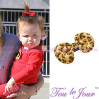 Luxury style natural mink hair leopard print pattern cat ears style hairpin side-knotted clip,Free delivery