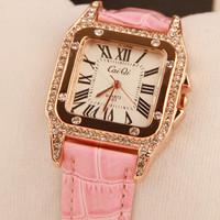 Fashion diamond square leather strap ladies watch women's quartz fashion casual watch vintage jaragar