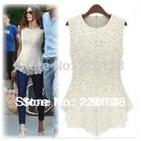 New 2014 Summer Women Fashion Casual Cotton Lace Dresses Lady's Sexy Brand Sleeveless Dress Short