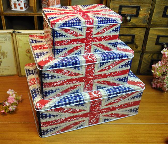 Union Jack the Union Flag Clarks originals storage metal tin boxes(China (Mainland))