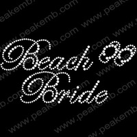Free Dhl Shipping 50Pcs/Lot Shinning Beach Bride Rhinestone Motif Iron On Transfer Wholesale For Wedding Dresses Decoration