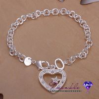 China Airexpress 2014 New arrival 925 Silver with Hanging Panel Stone Heart Star Bracelet and Bangle for Women  Free shipping