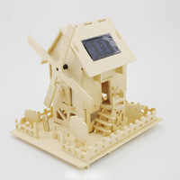 Diy handmade wooden building blocks rustic assembling model toy decoration windmill