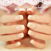 French series nail art patch love square toe nude color short design false nail 24