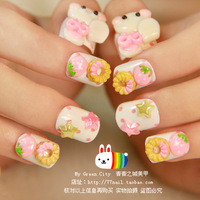 Cute lovely rabbit short design square toe nail art patch false nail