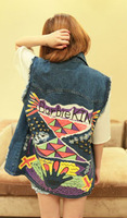 Dropshipping wholesale 2014 spring summer Harajuku Punk retro rivet printed women jeans denim vest waistcoat free shipping J1007