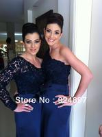 Special Unique Elastic Satin Royal Blue One Sleeve Lace Top Bridesmaid Dress(asa005)