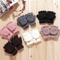 (MIN. order is $10 )HWE8279 Winter multifunctional semi-finger flip warm gloves coral fleece flip semi-finger keyboard gloves
